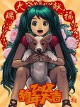 1girl 2018 animal bandaid bandaid_on_knee chinese_new_year commentary facing_viewer floral_background green_eyes green_hair happy hatsune_miku highres holding holding_animal long_hair open_mouth raglan_sleeves ryu_shou shirt shorts t-shirt very_long_hair vocaloid welsh_corgi year_of_the_dog