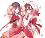 2girls demon_girl flower hair_between_eyes hair_flower hair_ornament hood japanese_clothes kimono looking_at_viewer momo_(onmyoji) multiple_girls oni_horns onmyoji pointy_ears sakura_(onmyoji) wide_sleeves youzi_xia yuri