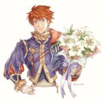 1boy absurdres armor blue_eyes cape eliwood_(fire_emblem) fire_emblem fire_emblem:_rekka_no_ken fire_emblem_heroes flower highres looking_at_viewer male_focus redhead short_hair smile solo tecchen white_background