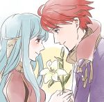 1boy 1girl bare_shoulders blue_eyes blue_hair cape couple dress eliwood_(fire_emblem) fire_emblem fire_emblem:_rekka_no_ken fire_emblem_heroes flower hair_ornament highres hoshigaki_(hsa16g) long_hair mamkute ninian red_eyes redhead short_hair smile
