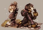 2girls black_hair book bouquet cloak fire_emblem fire_emblem:_kakusei fire_emblem_if flower hair_bun kanna_(fire_emblem_if) kneeling mark_(fire_emblem) momoppi multiple_girls pages scarf silver_hair smile tears