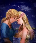 1boy 1girl bare_shoulders blonde_hair blue_eyes blue_shirt blush breasts brown_gloves closed_mouth clouds dress earrings fireflies gloves green_eyes half-closed_eyes hand_on_another's_chin highres horizon jewelry lake link lips long_hair looking_down low_ponytail medium_breasts night night_sky pointy_ears princess_zelda shiny shiny_hair shirt short_sleeves sidelocks sky straight_hair strapless strapless_dress the_legend_of_zelda the_legend_of_zelda:_breath_of_the_wild thick_eyebrows underbust upper_body wasabi_(legemd) water white_dress