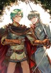 2boys aqua_hair armor blue_eyes blue_hair bow_(weapon) ephraim fire_emblem fire_emblem:_seima_no_kouseki gloves green_eyes green_hair innes male_focus multiple_boys short_hair wanini weapon