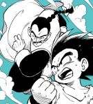 2boys black_eyes black_hair braid chinese_clothes clenched_hand clouds cloudy_sky day dougi dragon_ball facial_hair flying flying_sweatdrops frown greyscale long_sleeves looking_at_another looking_up male_focus monochrome multiple_boys mustache open_mouth serious short_hair sky smile son_gokuu sweat sweatdrop tao_pai_pai tkgsize wristband