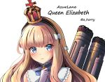 1girl amagami_(makise_tsubaki) azur_lane blue_eyes character_name crown gloves hairband highres light_brown_hair long_hair looking_at_viewer machinery mini_crown queen_elizabeth_(azur_lane) simple_background solo white_gloves