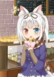 1girl :d absurdres animal_ears bakery bangs blue_coat blue_eyes blurry blurry_background blush bread brick_wall brown_ribbon brown_scarf cat_ears cat_girl cat_tail coat depth_of_field eyebrows_visible_through_hair food fur-trimmed_coat fur_trim hair_ribbon heterochromia highres holding holding_food indoors ju_(a793391187) long_hair long_sleeves open_mouth original plaid plaid_scarf red_eyes ribbon scarf shop silver_hair sleeves_past_wrists smile solo tail twintails