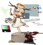 1girl barefoot chibi color_guide commentary_request dress food grey_hair horns hotaru_(htol#niq) htol#niq:_hotaru_no_nikki katabami38 long_hair mion_(htol#niq) o_o object_on_head omurice open_mouth red_eyes shadow solid_circle_eyes spoon standing standing_on_one_leg very_long_hair white_background white_dress