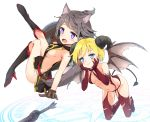 2girls animal_ears bangs bare_arms bare_shoulders black_dress black_footwear blonde_hair blue_eyes blush boots breasts brown_gloves brown_wings cat_ears cat_girl cat_tail closed_mouth commentary_request curled_horns demon_girl demon_horns demon_tail demon_wings dress elbow_gloves eyebrows_visible_through_hair fang gloves grey_hair hands_on_own_cheeks hands_on_own_face high_heel_boots high_heels highres holding holding_shield horns knee_boots kutata looking_at_viewer looking_to_the_side multiple_girls navel open_mouth original pouch red_footwear red_gloves red_legwear revealing_clothes sheath shield side_slit sideboob sleeveless sleeveless_dress succubus sword tail the_elder_scrolls the_elder_scrolls_v:_skyrim thigh-highs thigh_boots violet_eyes weapon white_background wings