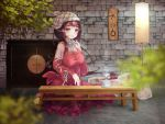 1girl breasts cathayan dress hourglass large_breasts long_hair looking_at_viewer official_art original red_dress red_eyes solo wooden_table