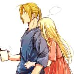 1boy 1girl =3 blonde_hair blue_shirt couple cup dress edward_elric eyebrows_visible_through_hair fullmetal_alchemist hetero hug hug_from_behind long_hair looking_away pink_dress ponytail shirt simple_background standing surprised tsukuda0310 white_background winry_rockbell yellow_eyes