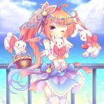 1girl ;d ahoge animal_print antenna_hair azur_lane bailey_(azur_lane) basket blue_sky bunny_hair_ornament bunny_print commentary_request doll_hug floating garter_straps hair_ornament holding horizon long_hair looking_at_viewer ocean one_eye_closed open_mouth orange_eyes orange_hair rabbit sakurato_ototo_shizuku side_ponytail sky smile stuffed_animal stuffed_bunny stuffed_toy white_legwear wrist_cuffs