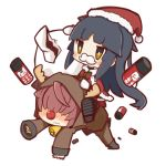 1girl animal_costume bell black_hair blush brown_hair character_request commentary_request cow_bell fake_mustache fate/grand_order fate_(series) gift_bag hair_over_eyes hat highres katou_danzou_(fate/grand_order) long_hair nuu_(nu-nyu) red_nose reindeer_costume riding santa_costume santa_hat simple_background white_background yellow_eyes