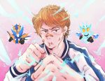1boy bandaid bandaid_on_nose banjou_ryuuga blurry_foreground bruise clenched_hand fighting_stance foreshortening injury kamen_rider kamen_rider_build_(series) kamen_rider_cross-z light_brown_hair male_focus multiple_persona ttt_n