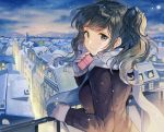 1girl bangs black_coat black_eyes black_hair blue_hair box cityscape coat commentary_request gift gift_box holding holding_gift long_sleeves looking_at_viewer looking_back night night_sky original railing scarf sibyl sky smile solo two_side_up upper_body valentine