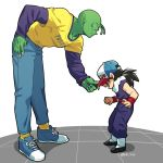 2boys black_hair cap denim dougi dragon_ball dragonball_z fingernails green_skin hal7040 hand_in_pocket hand_on_hip height_difference jeans leaning_forward long_fingernails long_sleeves looking_at_another male_focus multiple_boys open_mouth pants piccolo pointy_ears purple_shirt shadow shirt simple_background sleeveless smile socks son_gohan standing twitter_username white_background wristband yellow_shirt