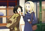 2girls aleksandra_i_pokryshkin bag bandage bandage_on_face bangs blonde_hair blue_coat blue_eyes blue_hairband blurry blush brave_witches brown_coat brown_gloves buttons closed_eyes coat depth_of_field door eyebrows feeding food fur_collar gloves hairband handbag holding holding_bag holding_food holding_paper kanno_naoe lamppost long_hair long_sleeves looking_at_another multiple_girls open_mouth outdoors paper paper_bag parted_bangs sandwich scarf shiratama_(hockey) smile standing straight_hair window world_witches_series yellow_scarf