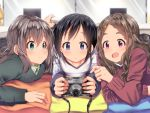 3girls :d :o aoba_kokona aqua_eyes bangs black_hair blanket blue_eyes blurry blurry_background blush braid brown_hair camera closed_mouth collarbone depth_of_field green_sweater hair_ornament hairclip holding holding_camera indoors kurosaki_honoka long_hair long_sleeves lying mad_(hazukiken) multiple_girls on_stomach open_mouth parted_bangs parted_lips pillow pointing red_sweater round_teeth shiny shiny_hair smile striped striped_sweater sweater tareme teeth two-handed under_covers upper_body violet_eyes yama_no_susume yukimura_aoi
