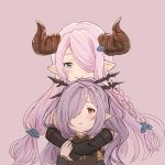 2girls blue_eyes blush_stickers braid chabo213 colored doraf granblue_fantasy hair_ornament hair_over_one_eye harbin horns hug hug_from_behind long_hair multiple_girls narumeia_(granblue_fantasy) nio_(granblue_fantasy) pink_background pink_hair pointy_ears ponytail purple_hair red_eyes smile sweatdrop