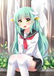 1girl :d agung_syaeful_anwar bangs between_legs black_skirt blush collarbone commentary day dragon_girl dragon_horns eyebrows_visible_through_hair fate/grand_order fate_(series) green_hair hair_between_eyes hair_ornament hand_between_legs horns kiyohime_(fate/grand_order) long_sleeves looking_at_viewer neckerchief open_mouth outdoors pleated_skirt red_neckwear school_uniform serafuku shirt sitting skirt smile solo thigh-highs white_legwear white_shirt yellow_eyes