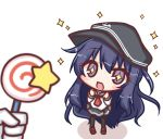 +_+ 1girl :d akatsuki_(kantai_collection) anchor_symbol bangs black_hat black_legwear black_skirt blush brown_footwear candy commentary_request eyebrows_visible_through_hair flat_cap food gloves hair_between_eyes hands_up hat holding holding_lollipop invincible_candy kantai_collection kirby_(series) komakoma_(magicaltale) loafers lollipop long_hair long_sleeves neckerchief open_mouth out_of_frame pantyhose pleated_skirt purple_hair red_neckwear school_uniform serafuku shirt shoes skirt smile solo_focus sparkle standing star swirl_lollipop very_long_hair violet_eyes white_background white_gloves white_shirt
