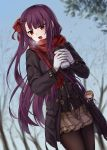 1girl :o bangs bare_tree black_coat blue_sky blunt_bangs blurry blurry_background blush braid breath brown_legwear brown_skirt character_doll character_request chien_zero coat cup day depth_of_field dutch_angle enpera eyebrows_visible_through_hair floral_print french_braid fringe girls_frontline gloves hair_ribbon highres holding holding_cup lips little_red_riding_hood long_sleeves looking_to_the_side miniskirt open_clothes open_coat open_mouth outdoors pantyhose paper_cup plaid plaid_skirt print_scarf red_scarf redhead ribbon scarf skirt sky solo straight_hair tree tsurime two-handed v-shaped_eyebrows wa2000_(girls_frontline) white_gloves