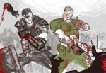 2boys armor artist_request berserk blood blood_on_face bloody_clothes crossover demon doom_(game) doomguy grin gun guts mechanical_arm multiple_boys smile sword thumbs_up weapon