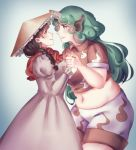 2girls ajirogasa belly breasts capelet chocolate_hair collared_shirt crop_top curly_hair dress eye_contact green_eyes green_hair hand_holding hat height_difference horn imminent_kiss komano_aun large_breasts long_hair looking_at_another midriff multiple_girls navel orz_(kagewaka) parted_lips plump shirt touhou yatadera_narumi yuri