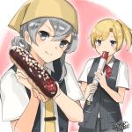 2girls :3 asymmetrical_hair bandanna bangs black_vest blonde_hair blouse blue_eyes blush bow bowtie breast_pocket buttons cowboy_shot derivative_work eclair_(food) eyebrows_visible_through_hair flipped_hair food grey_eyes hands_up holding holding_food kantai_collection looking_at_viewer maikaze_(kantai_collection) multiple_girls nowaki_(kantai_collection) parody parted_bangs pocket ponytail red_bow red_neckwear school_uniform short_hair short_ponytail short_sleeves silver_hair smile swept_bangs tie_clip torpedo twitter_username upper_body vest white_blouse yamashiki_(orca_buteo) yellow_neckwear