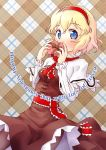 1girl alice_margatroid alternate_color blonde_hair blue_eyes bow box breasts brown_background brown_bow brown_dress brown_legwear covering_mouth cowboy_shot dress english hairband heart-shaped_box highres holding holding_box ikamagu long_sleeves looking_at_viewer pantyhose plaid plaid_background red_hairband red_neckwear sash short_hair small_breasts solo standing tareme touhou white_capelet