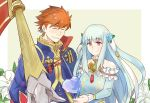 1girl armor blue_hair cape closed_eyes dress eliwood_(fire_emblem) fire_emblem fire_emblem:_rekka_no_ken fire_emblem_heroes hair_ornament highres long_hair mamkute ninian open_mouth red_eyes redhead short_hair smile
