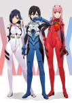 1boy 2girls akuan_(7jackpot7) ayanami_rei ayanami_rei_(cosplay) black_hair blue_bodysuit blue_eyes bodysuit contrapposto cosplay darling_in_the_franxx full_body green_eyes highres hiro_(darling_in_the_franxx) ichigo_(darling_in_the_franxx) ikari_shinji ikari_shinji_(cosplay) long_hair looking_at_viewer multiple_girls neon_genesis_evangelion pink_hair plugsuit red_bodysuit short_hair skin_tight souryuu_asuka_langley souryuu_asuka_langley_(cosplay) standing white_bodysuit zero_two_(darling_in_the_franxx)