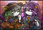 2girls black_hat blouse blue_blouse eyebrows_visible_through_hair green_eyes green_hair green_skirt hair_between_eyes hair_ornament hat hat_ribbon heart heart-shaped_buttons heart_hair_ornament heart_of_string komeiji_koishi komeiji_satori lavender_skirt letterboxed line_shading long_sleeves looking_at_viewer multiple_girls pink_eyes pink_hair ribbon short_hair siblings sisters skirt smile suenari_(peace) third_eye touhou white_skin wide_sleeves yellow_blouse yellow_ribbon