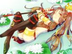 1girl armlet boots bracelet brown_hair fate/grand_order fate_(series) flower jewelry lotus navel nezha_(fate/grand_order) one_eye_closed partially_submerged polearm scrunchie spear thigh-highs thigh_boots thighlet twintails water weapon
