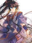 1girl arrow black_hair bow bow_(weapon) hair_ribbon japanese_clothes kajiri_kamui_kagura koga_rindou ponytail ribbon solo tenkuu_sphere weapon