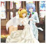 2girls alice_margatroid bridal_veil bride dress elbow_gloves formal gloves highres izayoi_sakuya marriage multiple_girls pant_suit sen'yuu_yuuji suit touhou veil wedding wedding_dress yuri