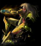 armor blonde_hair blood damage damaged headwear_removed helmet helmet_removed long_hair metroid neon_trim nintendo power_armor power_suit samus_aran weapon