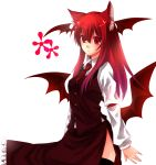 bad_id cat_ears head_wings headwings koakuma necktie red_eyes red_hair redhead thigh-highs thighhighs touhou wings yutazou