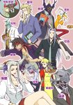 apron art_brush baton_(instrument) beshiexe blonde_hair book brown_hair cefca_palazzo chaos_(dff) cloud_of_darkness conductor cosmos_(dff) crossed_legs dissidia_final_fantasy emperor_(ff2) emperor_palamecia everyone exdeath final_fantasy final_fantasy_i final_fantasy_ii final_fantasy_iii final_fantasy_iv final_fantasy_ix final_fantasy_v final_fantasy_vi final_fantasy_vii final_fantasy_viii final_fantasy_x formal garland_(ff1) glasses golbeza grey_hair headband helmet jecht kefka_palazzo knife kuja legs long_hair moogle multiple_girls necktie paintbrush plant sephiroth silver_hair sitting suit ultimecia whistle