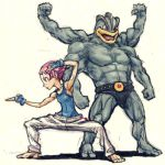 1girl barefoot feet gym_leader lowres machamp master_asia meitei muscle parody pokemon pokemon_(creature) pokemon_(game) pokemon_dppt pose sumomo_(pokemon) toes