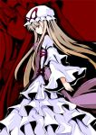 blonde_hair dress favfavver2 frilled_dress frills hat long_hair purple_eyes solo touhou yakumo_yukari zoom_layer