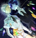 androgynous bangs blue_eyes blue_hair blunt_bangs cairngorm_(houseki_no_kuni) face-to-face gem gem_uniform_(houseki_no_kuni) gloves golden_arms houseki_no_kuni looking_at_another necktie phosphophyllite phosphophyllite_(ll) smile spoilers white_eyes white_hair