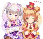 2girls :d brown_eyes brown_hair candy_hair_ornament chocolate closed_mouth double_bun doughnut eyebrows_visible_through_hair flower_knight_girl food food_themed_hair_ornament frills hair_intakes hair_ornament hat heart-shaped_box heart_hair_ornament holding holding_food iberis_(flower_knight_girl) looking_at_viewer multiple_girls one_eye_closed open_mouth polka_dot portulaca_(flower_knight_girl) puffy_sleeves red_hat short_hair silver_hair simple_background skirt smile sorimura_youji striped top_hat twintails twitter_username upper_body valentine violet_eyes white_background wrist_cuffs