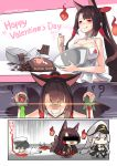 1boy 2girls :d admiral_(azur_lane) akagi_(azur_lane) alternate_costume alternate_hairstyle apron azur_lane bar_censor black_legwear blood blood_stain bottle breasts brown_hair censored chains chibi chocolate_bar choker cleavage comic cuffs dying_message enterprise_(azur_lane) fox fox_tail grey_hair hair_ribbon hair_tubes handcuffs happy_valentine hat highres hitodama holding identity_censor japanese_clothes long_hair lying military military_uniform multiple_girls multiple_tails naval_uniform necktie on_stomach open_mouth peaked_cap phandit_thirathon pleated_skirt ponytail potion red_eyes ribbon shaker silent_comic skirt smile smirk tail thigh-highs translation_request twitter_username uniform valentine violet_eyes white_hair wide_sleeves zettai_ryouiki