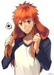 1boy alternate_hair_length alternate_hairstyle closed_mouth drop_shadow emiya_shirou fate/extella fate/extella_link fate/extra fate/stay_night fate_(series) long_sleeves looking_down male_focus matsuya_(pile) orange_hair raglan_sleeves signature simple_background spoken_squiggle squiggle sweatdrop upper_body white_background yellow_eyes