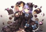 2girls :o bangs black_bow black_dress black_footwear black_hat black_legwear blonde_hair blue_bow blue_eyes blue_ribbon blush bow brown_ribbon chocolate chocolate_heart closed_mouth dress eyebrows_visible_through_hair gochuumon_wa_usagi_desu_ka? gothic_lolita green_eyes grey_background hair_between_eyes hair_bow hat heart highres kafuu_chino kirima_sharo lolita_fashion long_hair long_sleeves looking_at_viewer mary_janes mini_hat missile228 multiple_girls pantyhose parted_lips purple_hair ribbon shoes sitting striped striped_bow striped_legwear striped_ribbon vertical-striped_legwear vertical_stripes very_long_hair wide_sleeves