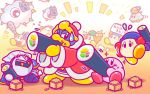 2boys backwards_hat bandanna baseball_cap beanie bird blue_hat bow bowtie clouds club co-kracko commentary_request eating ehoumaki flying_sweatdrops food food_on_face green_hat hat headphones jitome king_dedede kirby kirby_(series) kracko looking_at_another makizushi mask meta_knight multiple_boys nintendo no_humans notepad official_art oni_mask red_neckwear robe running setsubun sitting spark sparkle spiked_club sushi sweatdrop throwing ufo ufo_(kirby) waddle_dee weapon