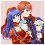 1boy 1girl blue_eyes blue_hair blush cape couple dress fire_emblem fire_emblem:_fuuin_no_tsurugi fire_emblem_heroes flower gift gloves hat hetero highres lilina long_hair redhead roy_(fire_emblem) short_hair simple_background smile white_background wspread