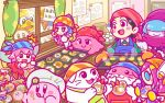 1boy 6+girls :q adeleine apron bandanna beanie bird black_hair blue_hair blue_hat blush_stickers cat chef_hat chuchu_(kirby) claycia cookie egg elline_(kirby) fairy flour food food_on_face hair_over_eyes hair_ribbon hamster hat king_dedede kirby kirby_(series) licking_lips multicolored_hair multiple_girls nintendo notepad official_art oven_mitts pastry_bag pick_(kirby) ribbon ribbon_(kirby) scarf shiro_(kirby) susie_(kirby) tongue tongue_out tray valentine waddle_dee window