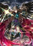 1girl armor armored_boots bodysuit boots brown_hair cardfight!!_vanguard company_name curly_hair feathered_wings feathers gloves horns long_hair magic official_art revenger_waking_angel solo violet_eyes wings