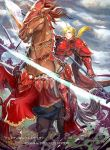 1boy armor armored_boots blonde_hair blue_eyes boots clouds cloudy_sky company_name day faceless faceless_male fire_emblem fire_emblem:_seima_no_kouseki fire_emblem_cipher forde gloves horse long_hair low_ponytail male_focus official_art polearm rain sky solo spear sword teeth weapon
